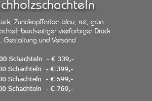Angebot: Bedruckte Streichholzschachteln